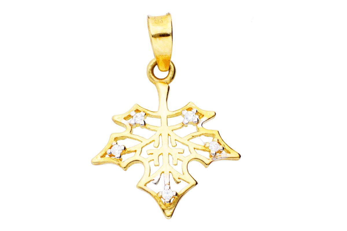 Medalion aur 14K frunza