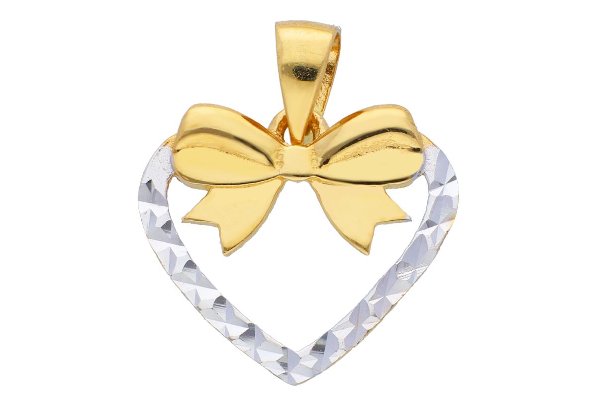 Medalion aur 14K galben si alb inimioara fatetata