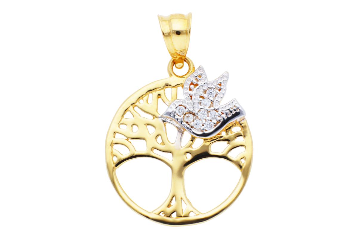 Medalion aur 14K galben si alb pomul vietii pasare