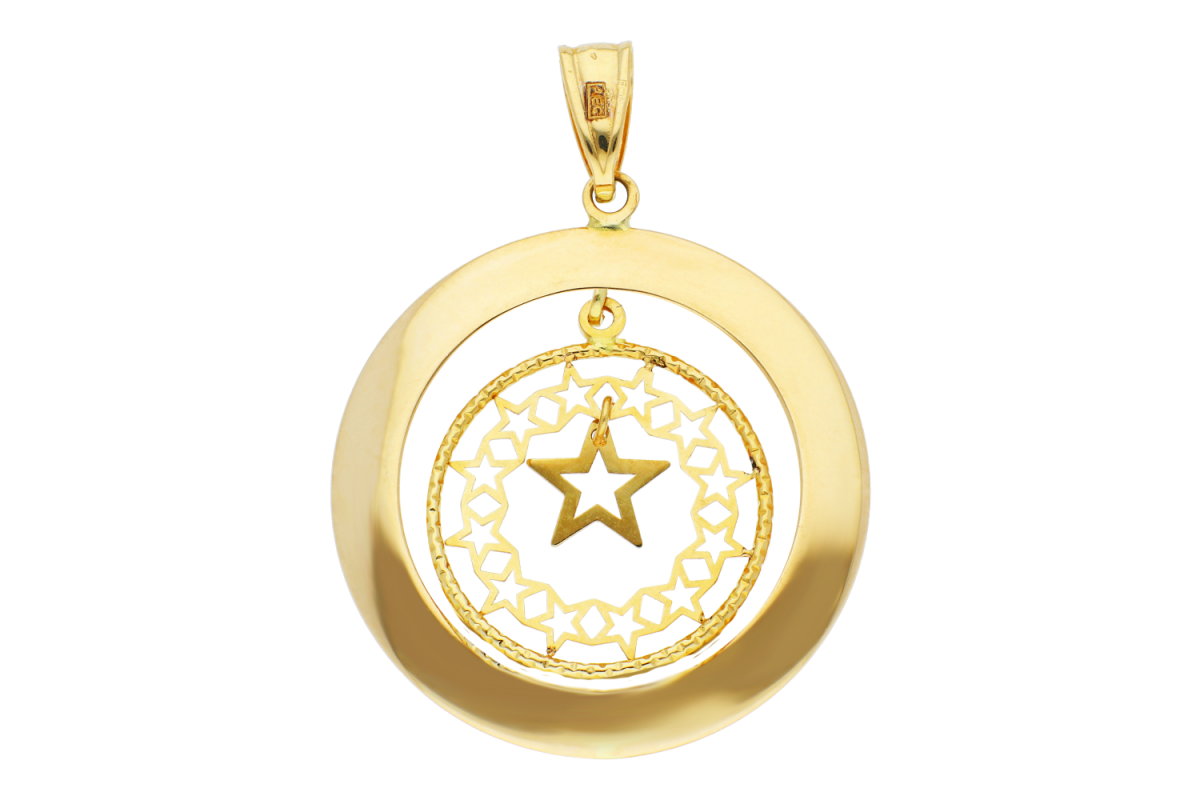Medalion dama cerc cu steluta din aur 14K galben