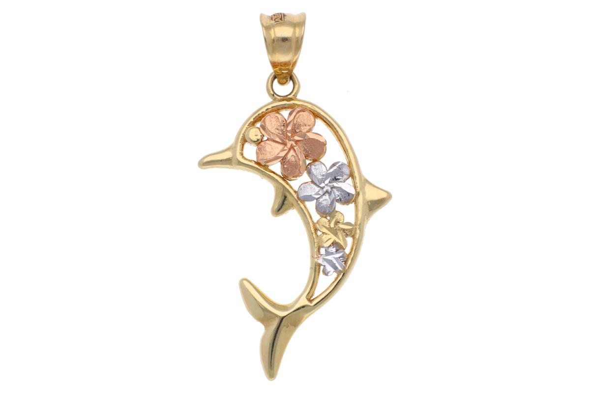 Medalion din aur 14K delfinas floricele