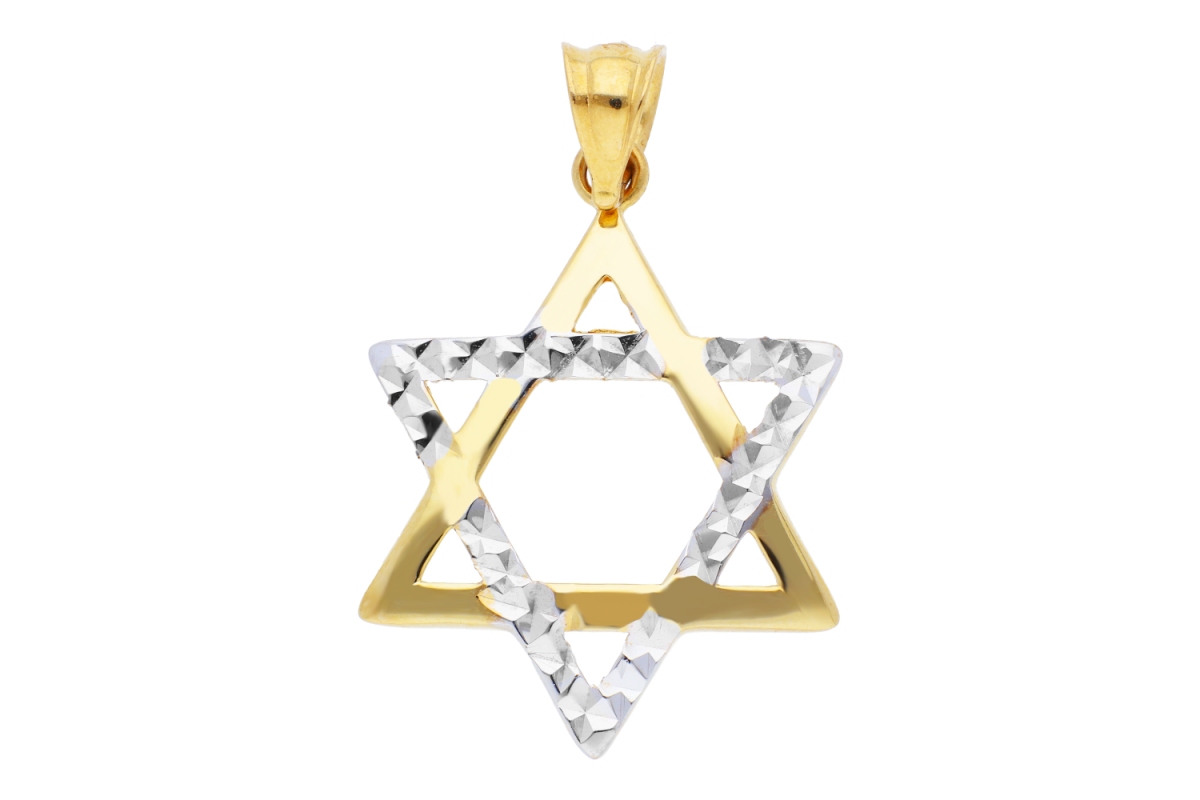 Medalion steaua lui David fatetata aur 14K galben si alb