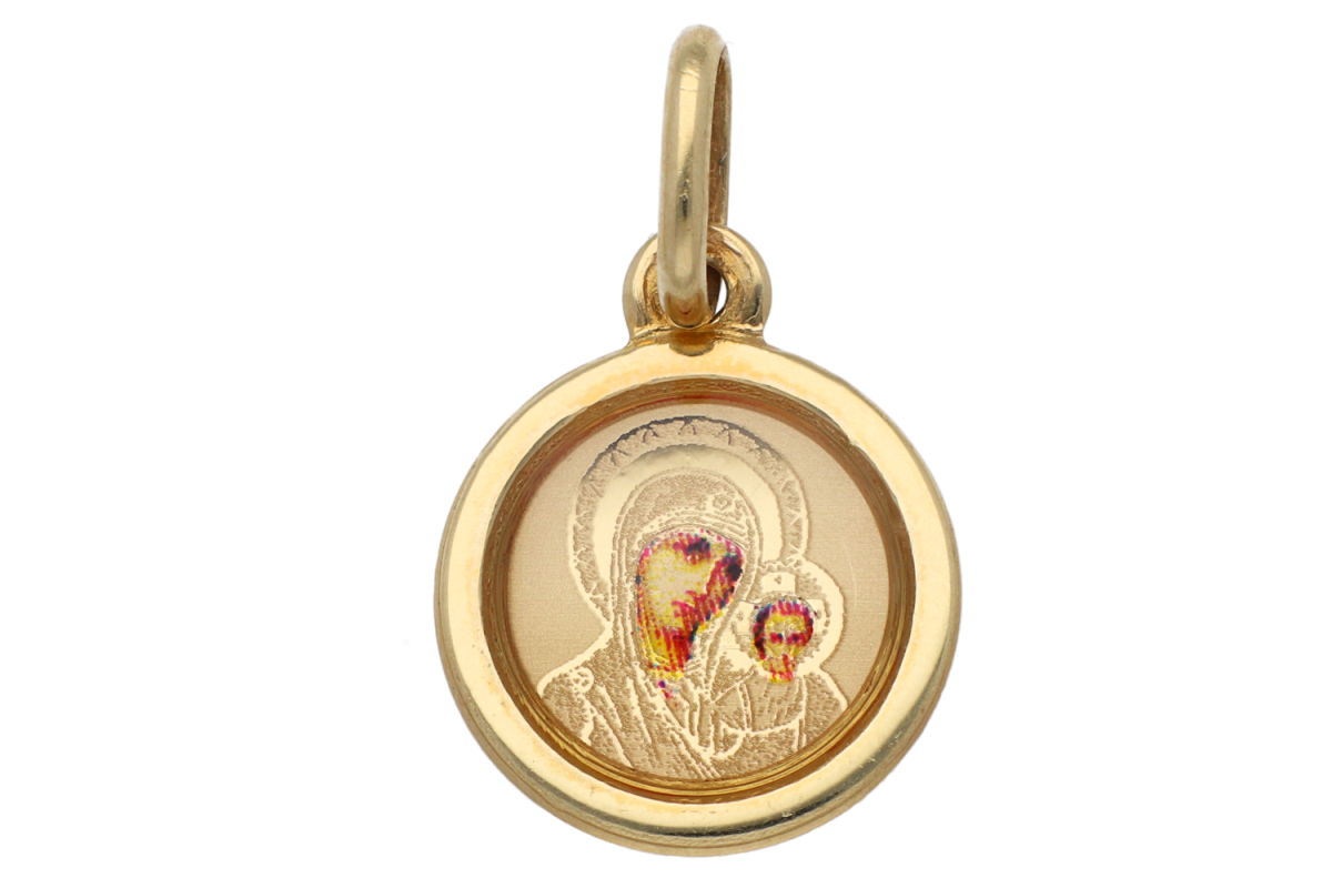 Iconita din aur 14K galben Maica Domnului si Iisus