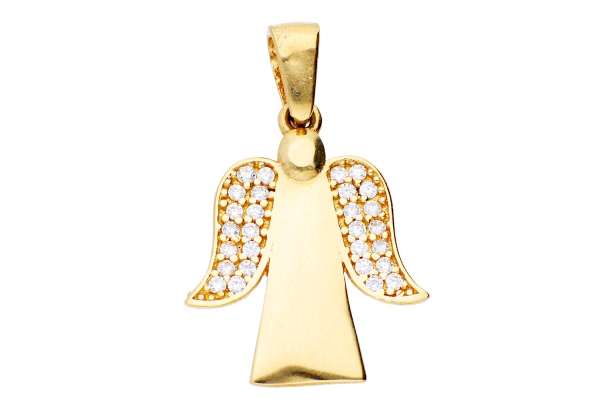 Bijuterii aur - Pandant dama din aur 14K galben ingeras