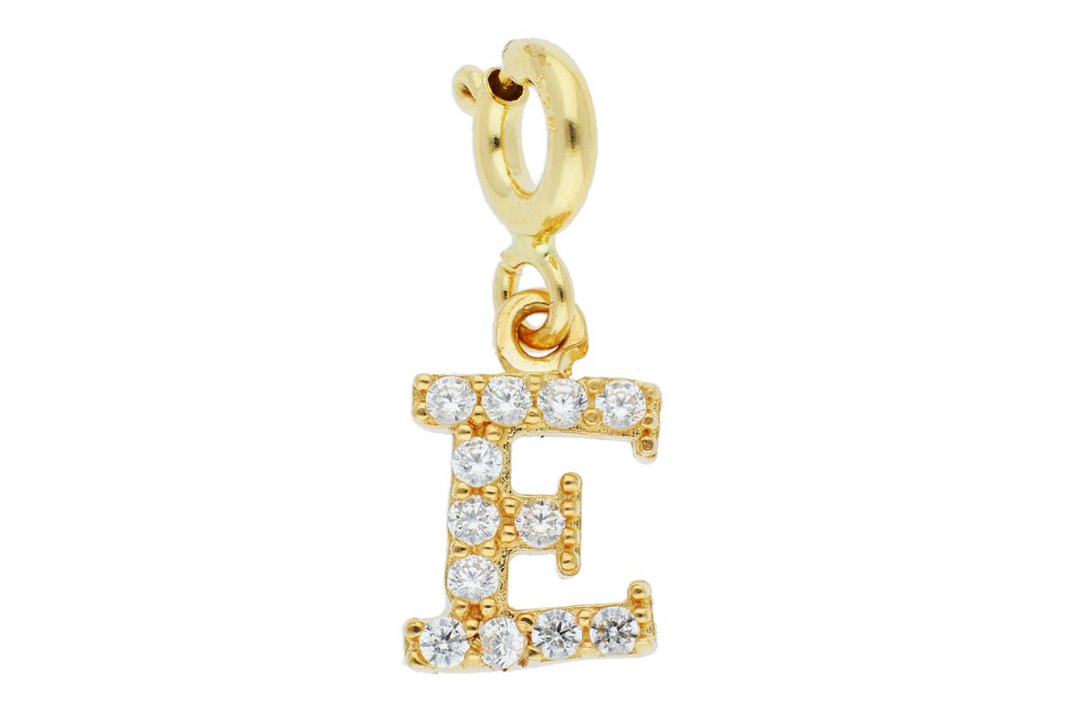 Pandant dama din aur 14K galben cu carabina litera E