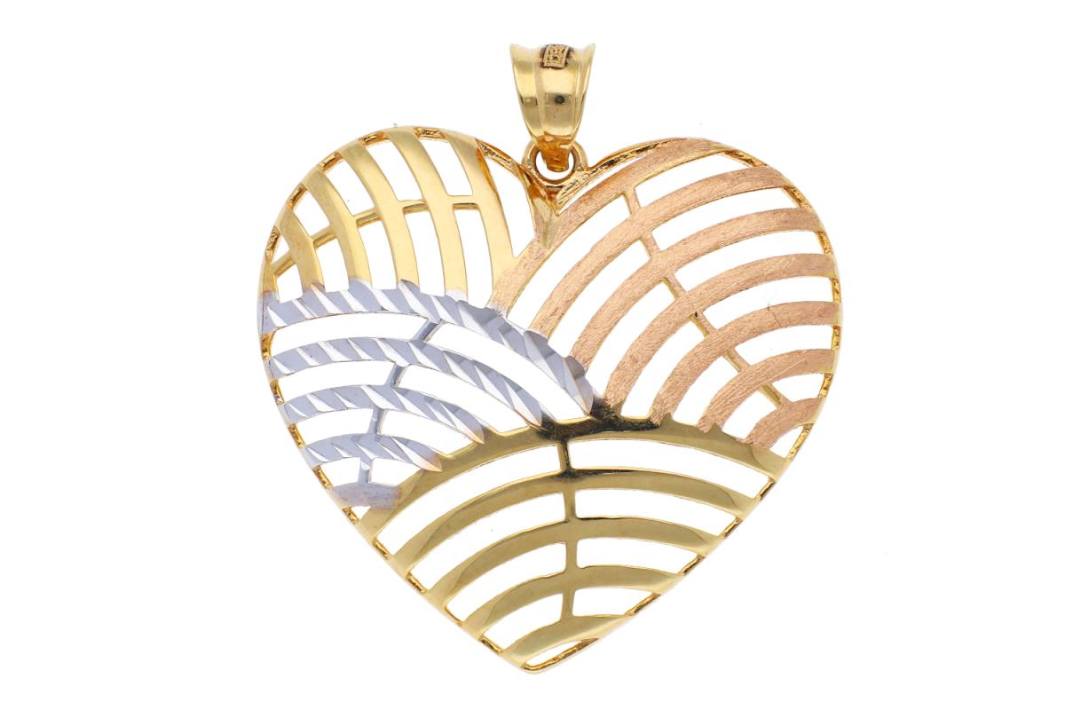 Pandant din aur 14K galben, alb si roz inimioara