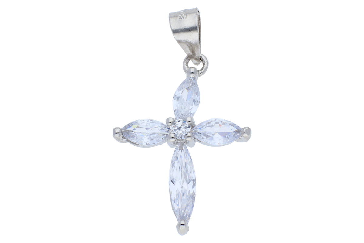 Pandantiv argint cruciulita cu zirconii
