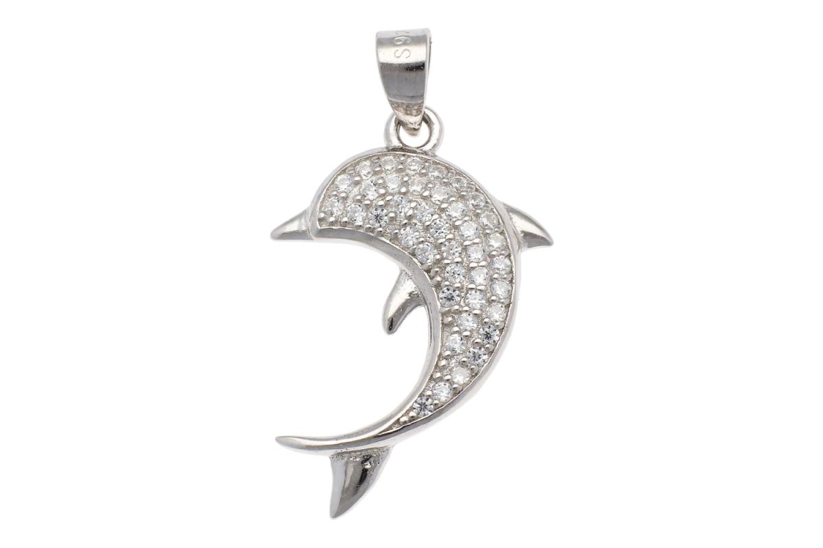 Pandantiv argint delfin cu zirconii