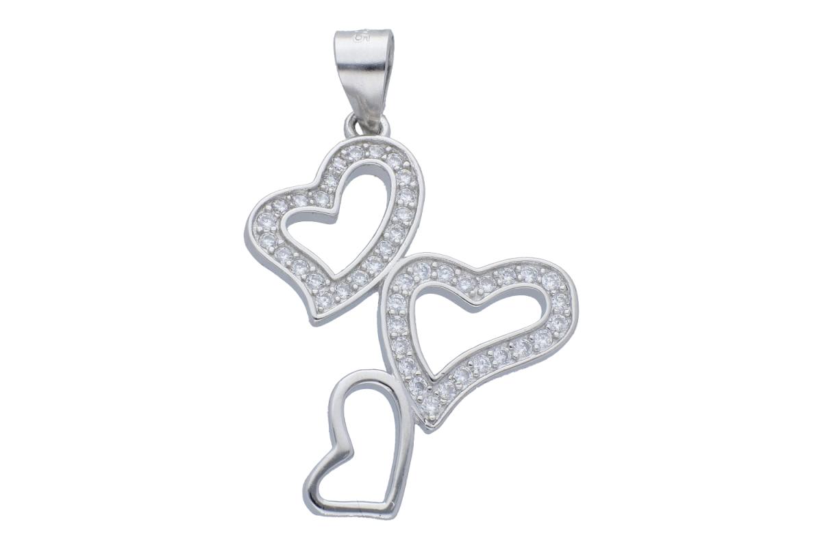 Pandantiv argint inimioare zirconii