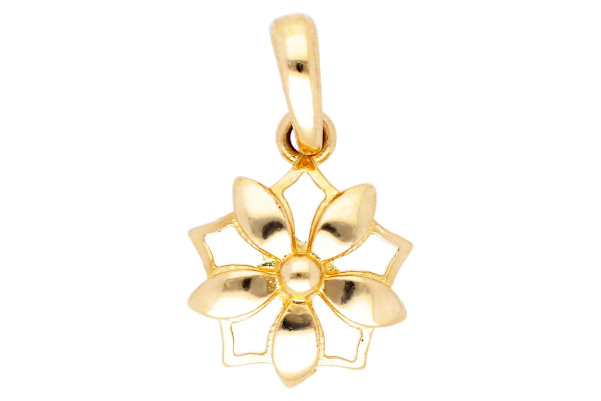 Bijuterii aur online - Pandant dama aur 14K galben floricica