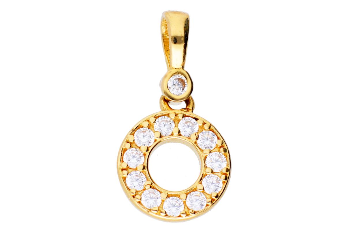 Bijuterii aur online - Medalion din aur 14K galben cristale zirconia