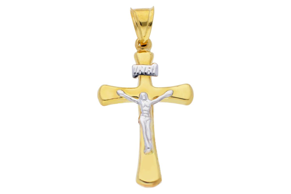 Cruciulita din aur 14K alb si galben