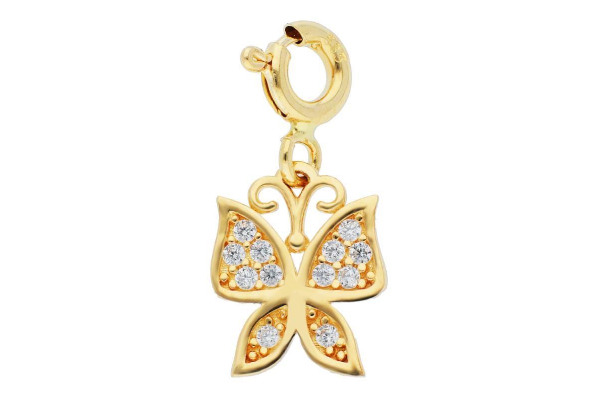 Pandantiv cu carabina fluturas si zirconii dama din aur 14K galben