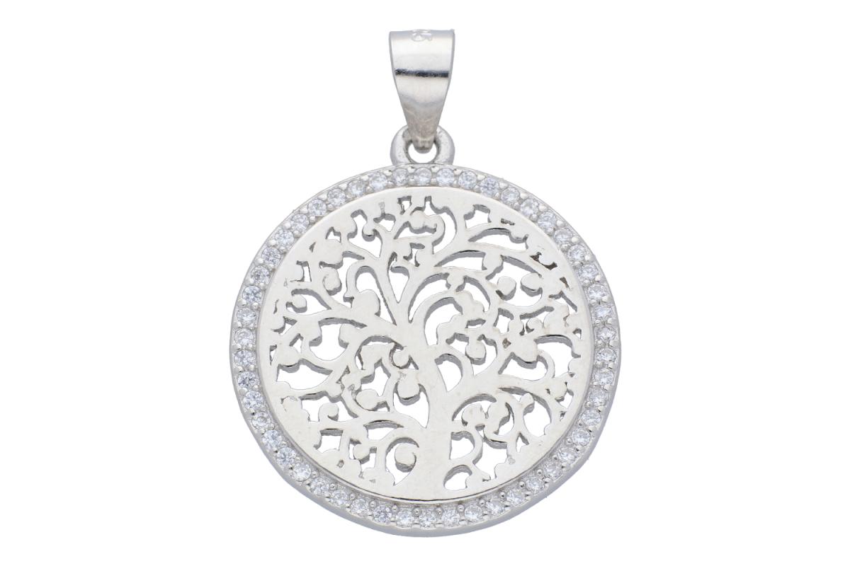 Pandantiv din argint pomul vietii cristale zirconia