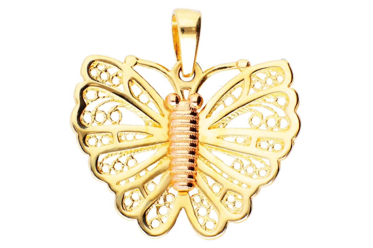 Pandantiv din aur 14K fluturas filigran