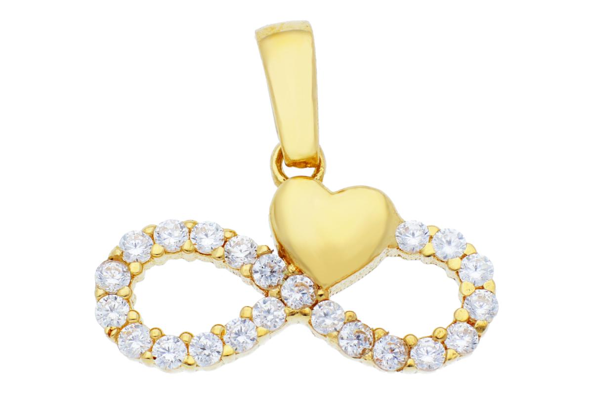 Pandantive din aur 14K galben infiniti cu inimioara si zirconii