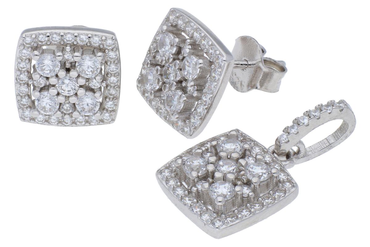 Set argint cercei +pandantiv zirconii albe