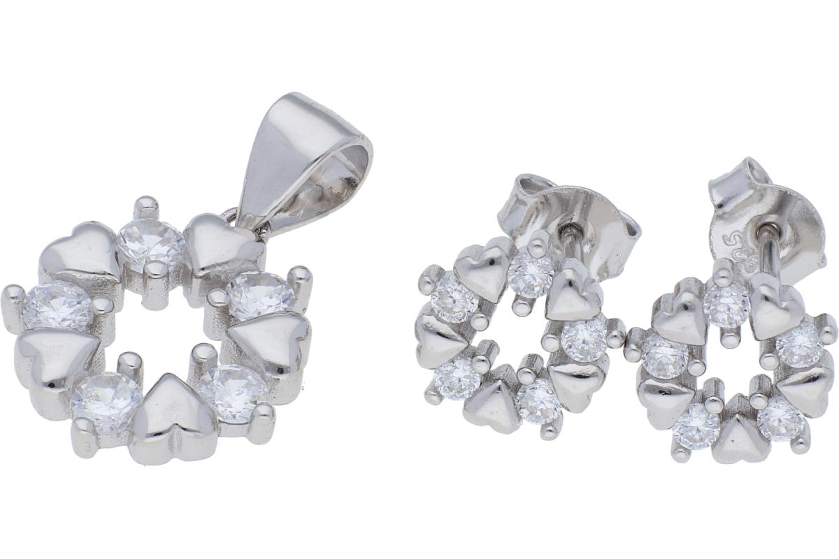 Set argint cercei+pandantiv inimioare si zirconii albe