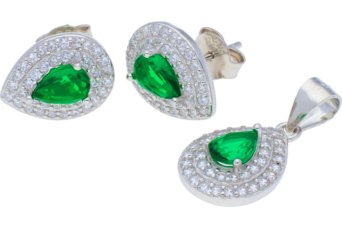 Set argint cercei+pandantiv smarald