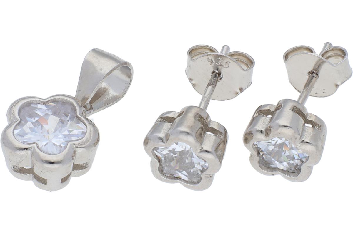 Set argint cercei+pandantiv zirconii albe