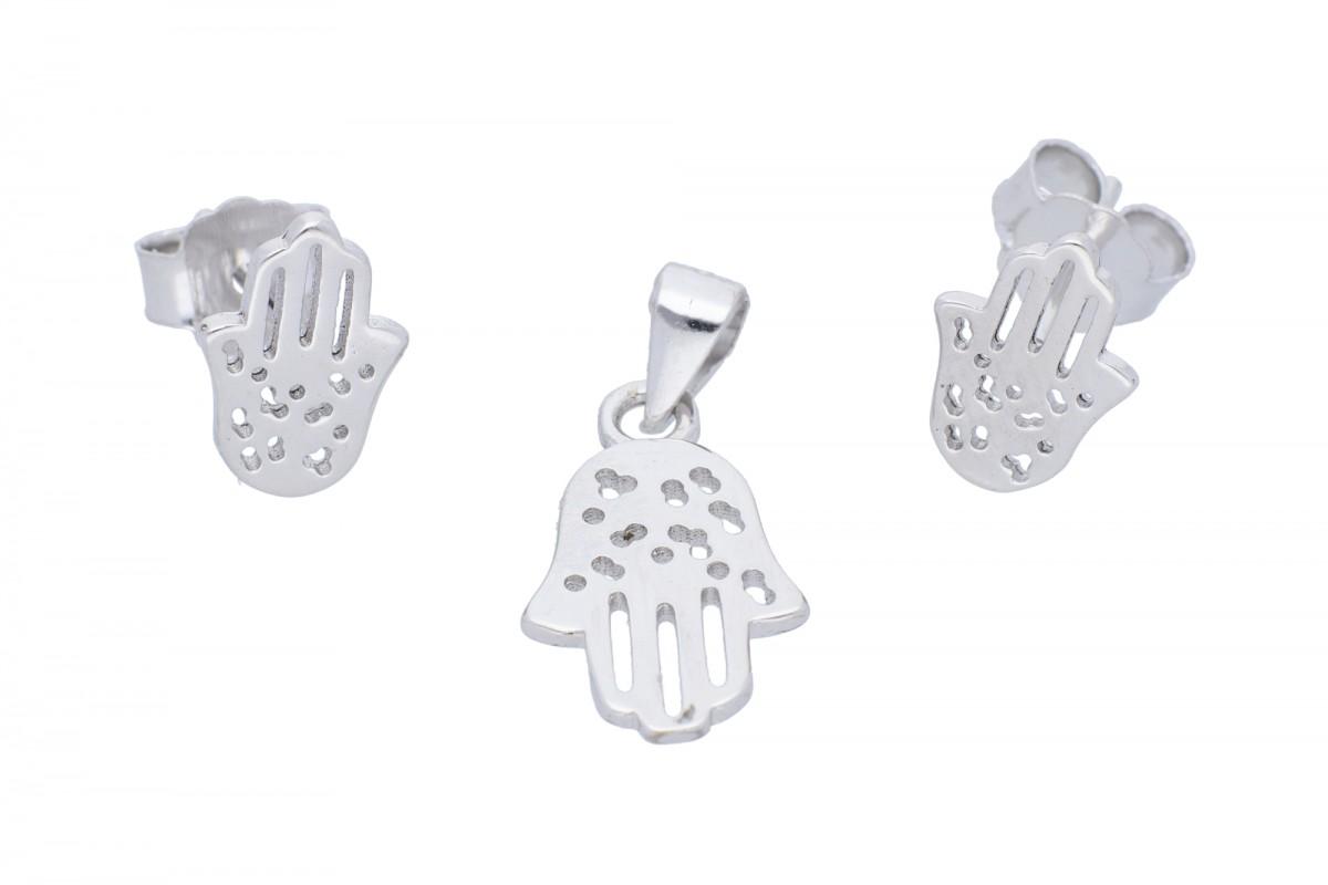 Set bijuterii argint cercei si pandant manuta Fatimei