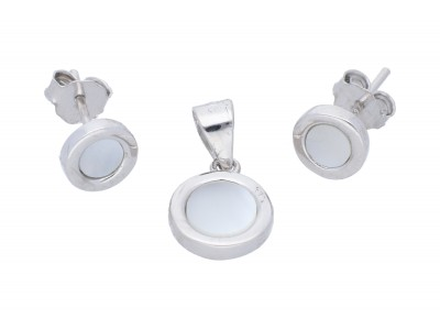 Bijuterii cadou set cu sidef cercei pandant argint 925