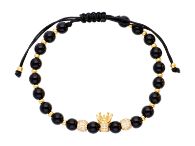 Bratara cu snur aur 14K coroana King / Queen