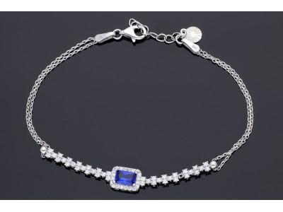 Bratara mobila bijuterii aur alb 14k zirconia albastru