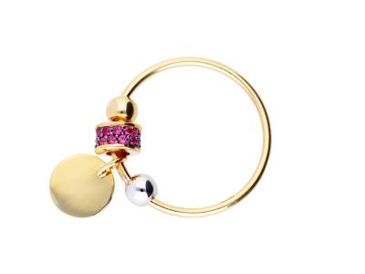 Cadouri femei inel aur 14k cu charm banut