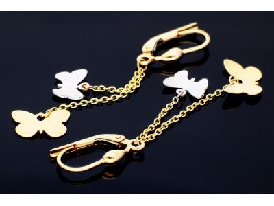 Cercei aur 14K bijuterii cu fluturas