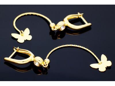 Cercei aur 14K bijuterii cu pandant fluturas