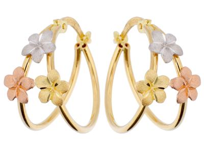 Cercei aur 14k bijuterii dama cu pandante floricele