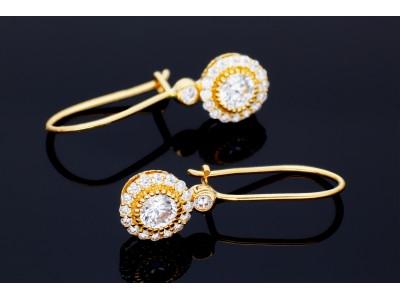 Cercei aur 14k bijuterii dama cu zirconii