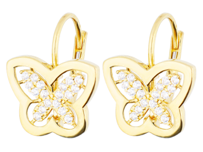 Cercei aur 14k bijuterii pandant fluturas cu zirconii