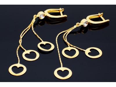 Cercei aur 14k  cu inimioare bijuterii de dama