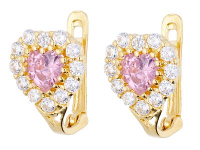 Cercei copii aur 14K inimioara zirconii roz