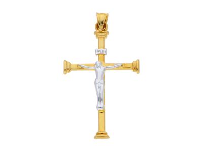 Cruciulita Iisus aur 14K galben si alb