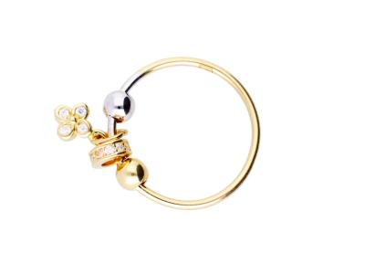 Inel cu charm floricica cadouri bijuterii aur 14k