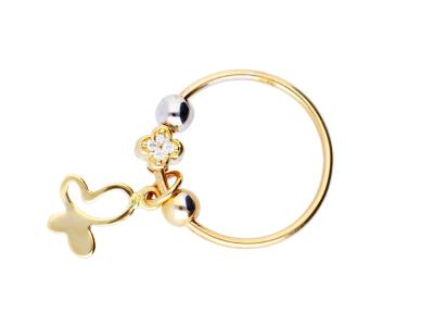 Inel cu charm fluturas cadouri bijuterii aur 14k