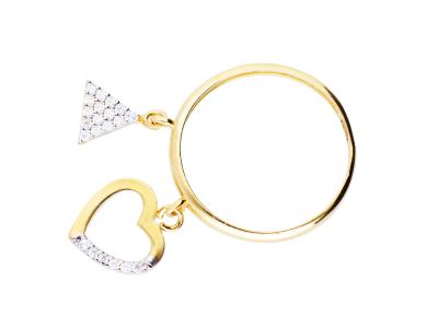 Inel cu charm inima - triunchi cadouri bijuterii aur 14k