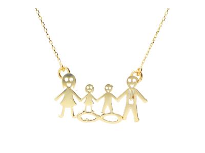 Lant cu pandantiv din aur de 14k familie cu fetita si baietel