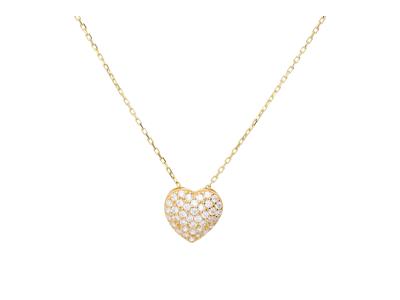 Lant cu pandantiv inimioara din aur de 14k  zirconia