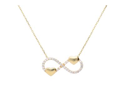 Lantisor din aur 14k cu pandantiv infinit si inimioare