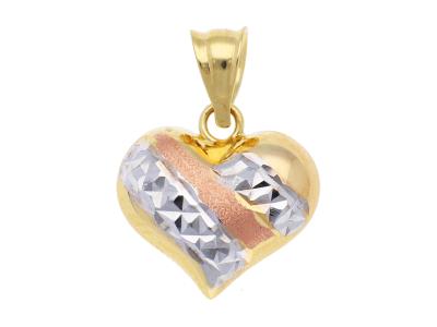 Medalioane aur 14K galben, alb si roz inimioara