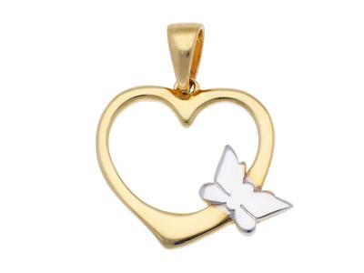 Medalion din aur 14K galben inimioara si fluturas