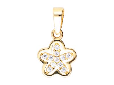 Medalion din aur galben 14K floricica