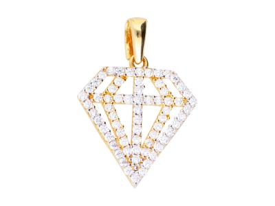 Pandantiv aur 14K forma diamant