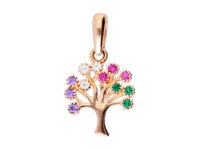 Pandantiv aur roz 14K pomul vietii pietricele colorate