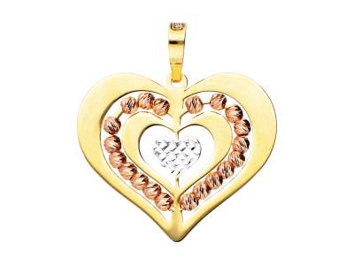 Pandantiv din aur 14 Inimioare bilute