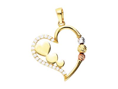 Pandantiv din aur 14K inimioare zirconia